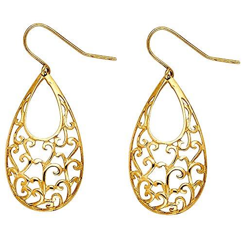 14k Yellow Gold Fancy Filigree Dangle Earrings (15 x 27mm)