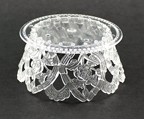 3.5 Inch Clear Plastic Ornament Base For Cake Topper Base & Favors 12 ()