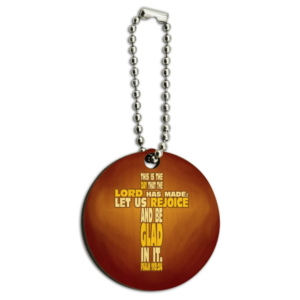 This is Day Lord Made Bible Cross Psalm Wood Wooden Round Key Chain