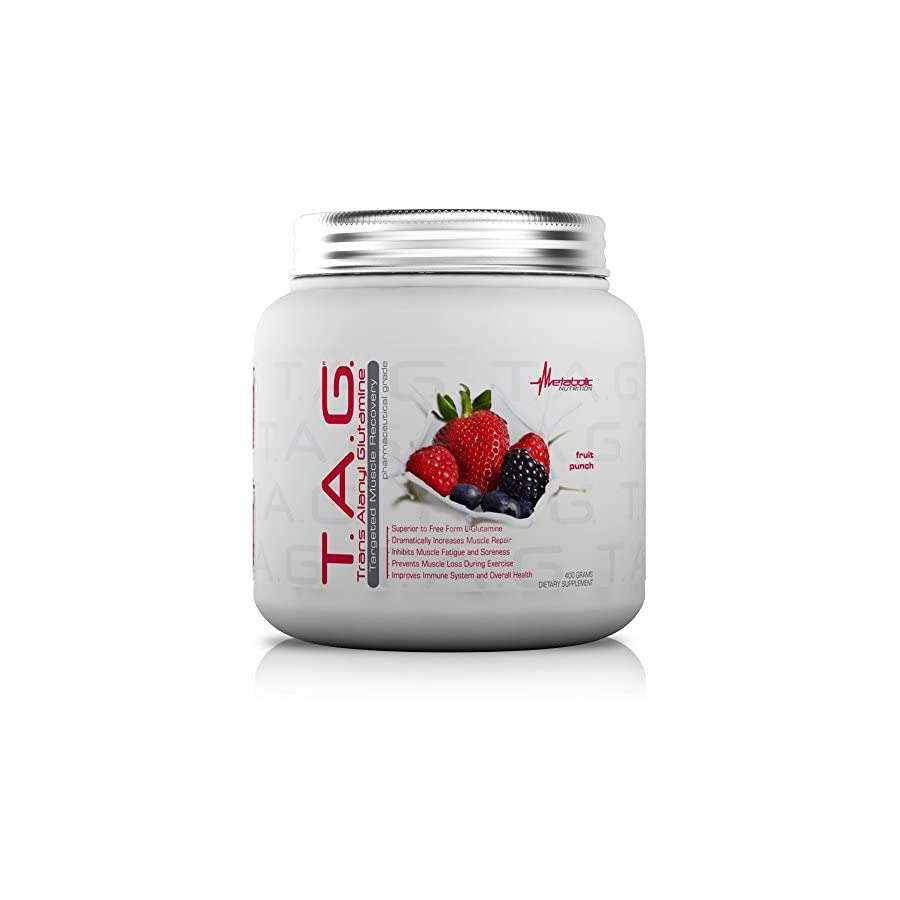 Metabolic Nutrition, TAG, Trans Alanyl Glutamine, 100% L Glutamine Peptide Powder, Pre Intra Post Workout Supplement, 400 grams (40 servings)