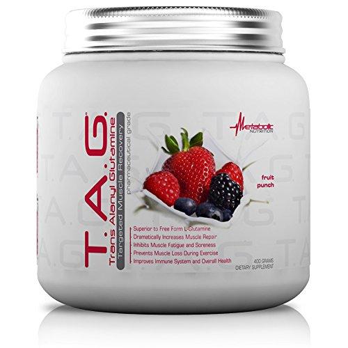 Fp Aloe (Metabolic Nutrition, TAG, Trans Alanyl Glutamine, 100% L-Glutamine Peptide Powder, Pre Intra Post Workout Supplement, Fruit Punch, 400 grams (40 servings))