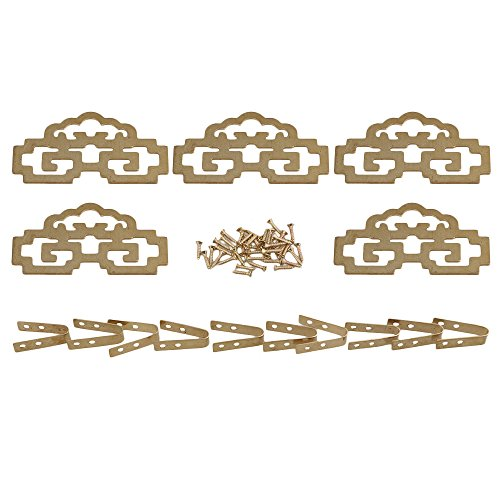 RDEXP 8x4.6cm Chinese Style Classical Painting Picture Frame Hanger Hanging Hooks CYJ020 Antique Brass with Screws Pack of 5