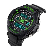 Men's Analog Electronic Watch Military Dual Dial Wrist Watch LED Digital Sport Watches Casual Water Resistant Luminous Stopwatch Alarm Simple Army Watch