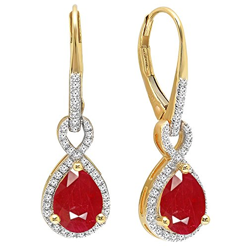 Dazzlingrock Collection 10K 8X6 MM Each Pear Lab Created Ruby & Round Diamond Ladies Dangling Earrings, Yellow Gold