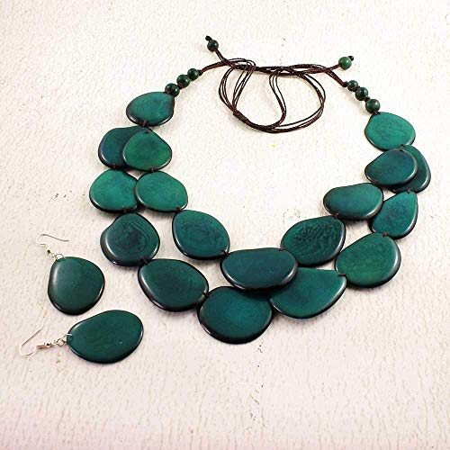 Teal Statement Necklace Set made of Tagua Nut