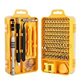 Screwdriver Set,110 in 1 Precision Screwdriver Repair Tool Kit,Wishesport Magnetic Driver Kit Professional Repair Tool Kit for iPhone X, 8, 7 Cellphone Computer Tablet PC Electronics Devices(Yellow)