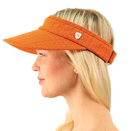 UPF UV Sun Protection Wide Brim 100% Cotton Beach Pool Visor Golf Cap Hat Orange ()
