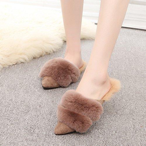 Fankou Autunno e Inverno Baotou, indossare una metà femmina pantofole elegante e versatile femmina scarpe di cotone ,38, kaki