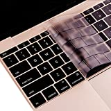 Se7enline Macbook 12 inch Clear keyboard skin Cover Metallic Champagne Silicone Keyboard Cover Skin Protector (Europe Layout UK Version) for The New 2015 Macbook 12 inch with Retina Display Model A1534,Transparent-Clear