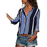 HGWXX7 Womens Tops Long Sleeve Casual Stripe Lapel Button Work T-Shirts Blouse(M,Blue)