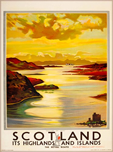 (A SLICE IN TIME Scotland - It's Highlands & Islands Scottish Highlands United Kingdom Great Britain Vintage Travel Advertisement Art Poster Print. 10 x 13.5 inches.)