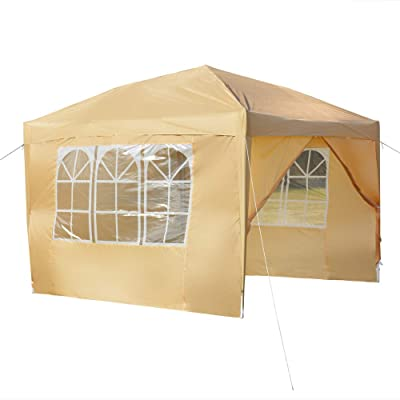 Wilbur Charley 10x10 Ft Pop up Canopy, Outdoor Waterproof Party Tent with 4 Removable Sidewalls and Durable Carry Bag (Khaki) : Garden & Outdoor