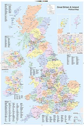 Cartina Gran Bretagna Da Stampare.Gb Eye Ltd Gn0147 Poster Motivo Cartina Politica Del Regno Unito 61 X 91 5 Cm Amazon It Casa E Cucina