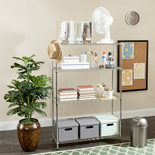 "Safavieh Home Collection Delta Chrome 4 Tier Premium 53.6"" Wire Shelves"
