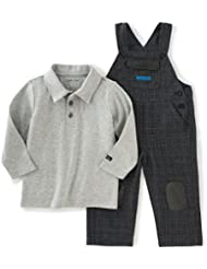 Calvin Klein Baby Boys' Patched Overall with Polo Top Set
