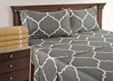 Linenwalas Twin Size Sheets for Teen - Printed Quatrefoil Pattern with Deep Pocket | 300 Thread Count Cotton | Soft Queen Sheet Set (Twin, Grey)