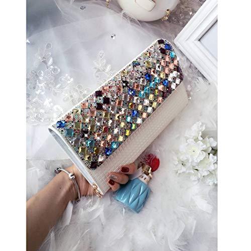 for Formal White Evening Purse Purse White Cocktail Multicolor Fashion Rhinestones Wallet Clutch Women Wedding Flada wAYSHaqv
