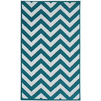 Garland Rug Large Chevron Area Rug, 5 By 7 Feet, Teal/White
