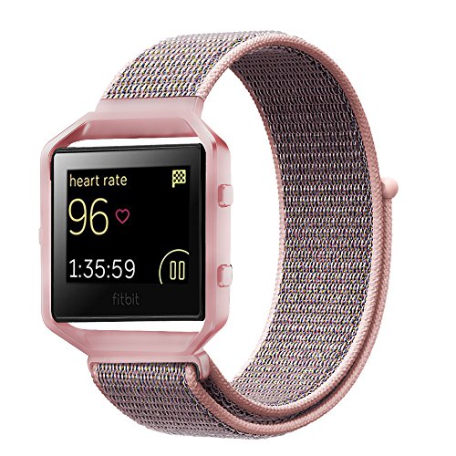 INTENY Compatible for Fitbit Blaze Band,Nylon Sport Loop with Hook and Loop Adjustable Fastener Wrist Strap & Metal Frame Housing Compatible for Fitbit Blaze Smart Fitness Watch, Pink Sand