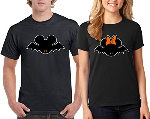 CAMALEN Minnie & Mickey Bat Halloween Costumes Couple DesignT-Shirt Popular Tee Shirt 1(Black-Black,Men-XL/Women-XL)