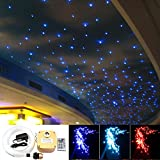 16W Twinkle Fiber Optic Star Ceiling Lights Lamp Kit, LED RGBW Engine Driver RF Dimmable Remote Control, Mixed 0.03in/0.75mm 0.04in/1mm 0.06in/1.5mm 13.1ft/4m 335pcs + Crystal