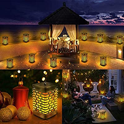 Eoyizw Solar Lanterns Outdoor, Hanging Lanterns Flickering Flame Lights Outdoor Lantern Waterproof Landscape Lanterns Decoration Lamp Auto On/Off Camping Garden Lawn Yard Patio Solar Lights