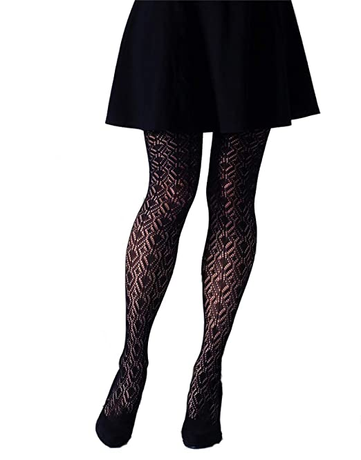4871417c99ccb GIPSY PEACOCK FEATHER CROCHET TIGHTS (13595043) - ONE SIZE, BLACK:  Amazon.co.uk: Clothing