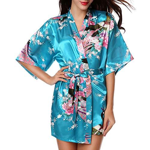 Mariée Lingerie Sky Vêtements Imprimée Bessky Nuit Robe Femmes Blue Bain De Mode Simulation Soie AxnnqpwUW