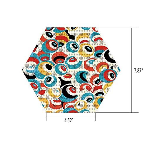 PTANGKK Hexagon Wall Sticker,Mural Decal,Psychedelic,Retro Theme Circle Pattern Evil Eyes Design Techno Trance Design Art Print,Multicolor,for Home Decor 4.52x7.87 10 Pcs/Set ()
