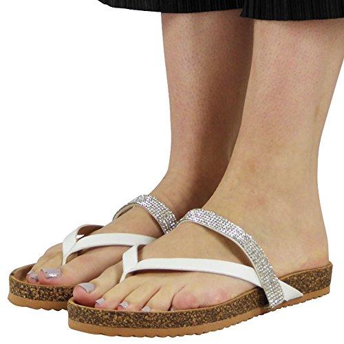 Zapatillas Blanco 8 Diamante Zapatos para Post Toe Damas Tamaño Sandalias plano tacón bajo 3 On mujer Slip aUfxZA7