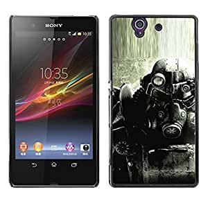 MOBMART Slim Sleek Hard Back Case Cover Armor Shell FOR Sony Xperia Z L36H - B&W Fall0Ut Game Soldier