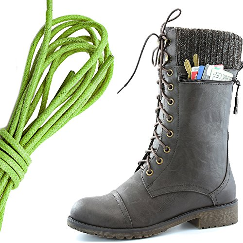 DailyShoes Womens Combat Style Lace up Ankle Bootie Round Toe Military Knit Credit Card Knife Money Wallet Pocket Boots, Lime Green Brown Pu