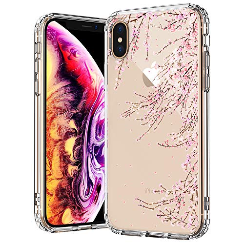 MOSNOVO iPhone Xs MAX Case, Clear iPhone Xs MAX Case,Cherry Blossom Floral Flower Pattern Clear Design Transparent Plastic Back Case with TPU Bumper Case Cover for iPhone Xs MAX