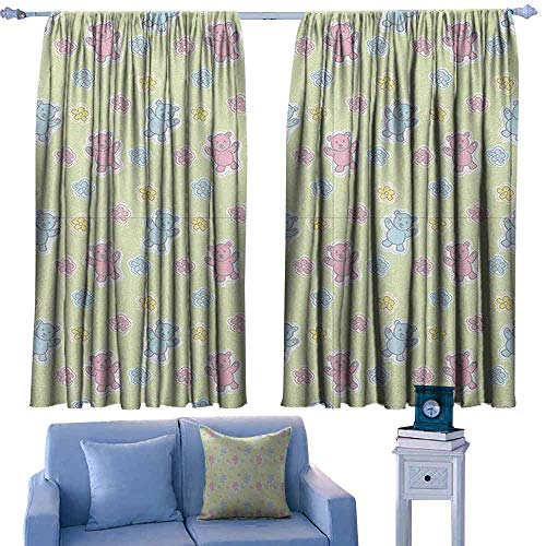 Mannwarehouse Nursery Bedroom windproofcurtain Baby Toy Drawing Pattern with Soft Colored Teddy Bears and Wildflowers Noise Reducing 55