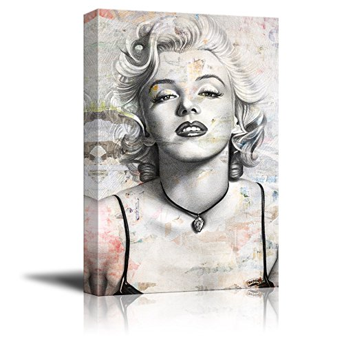 wall26 Canvas Wall Art - Realistic Sexy Painting of Marilyn Monroe on Grunge Background - Giclee Print Gallery Wrap Modern Home Decor Ready to Hang - 16x24 inches