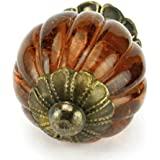 Chic Amber Glass Ball Cabinet Knobs, Drawer Pulls Knob & Handles Set/2pc ~ K194FF Vintage Style Old Amber Pumpkin Shaped Glass Knobs with Antique Brass Florentine Hardware. Glass Knobs, Handles & Pulls for Dresser, Drawers, Cabinets & Vanity