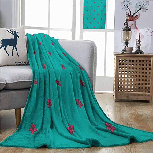 Digital Printing Blanket Teal Hand Drawn Pink Wild Flowers Pattern on Teal Background Flora Theme Nature Inspired Blanket for Sofa Couch Bed W54 xL72 Teal Hot Pink