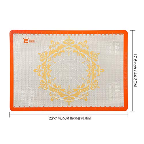 """GUANCI Non-slip Silicone Pastry Mat with size 25""""× 17-1/2"""",Extra Large Sheet for Silicone Baking Mat, Counter Mat, Dough Rolling Mat,Oven Liner,Fondant/Pie Crust Mat"""