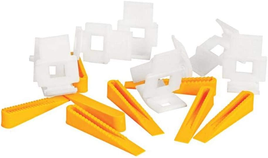 200 Tile Leveling Spacer System 50 Clips+150 Wedges Flooring Level Lippage UK