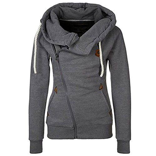 Jeeluory Women's Fashion Side Zipper Patchwork Warm Hooded Sweatshirt Jacket Dark Grey XXXL