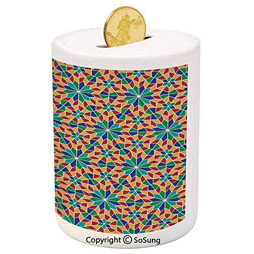 Arabian Ceramic Piggy Bank,Islamic Mosaic Floral Patterns with Geometrical Shapes Old Ethnic Oriental Motifs 3D Printed Ceramic Coin Bank Money Box for Kids & Adults,Multicolor