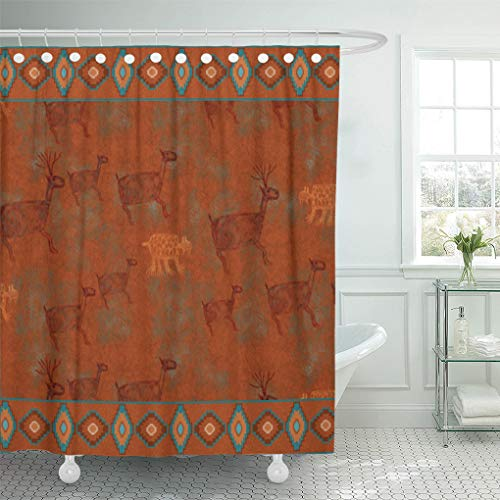 Santa Fe Shower Curtain Hooks - Semtomn Shower Curtain Western Southwest Canyons Petroglyphs Desert Copper Turquoise Tribal Native 72