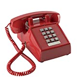 Home Intuition Amplified Single Line Corded Desk Telephone with Extra Loud Ringer, Red