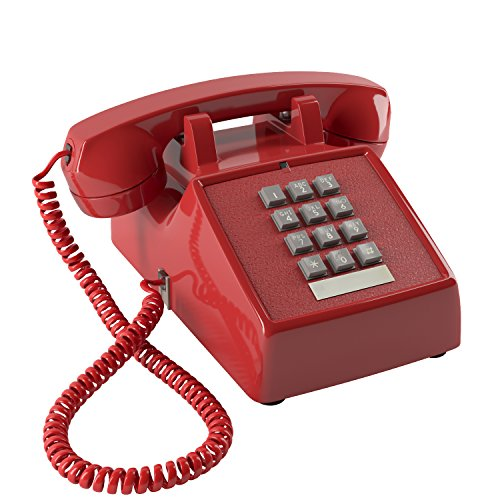 (Home Intuition Amplified Single Line Corded Desk Telephone with Extra Loud Ringer, Red)