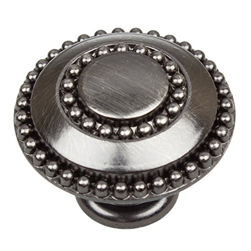 739-BP-10 1.375 inch Diameter Round Double-Ring Beaded Brushed Pewter Cabinet Knobs 10 Pack, Finish ()