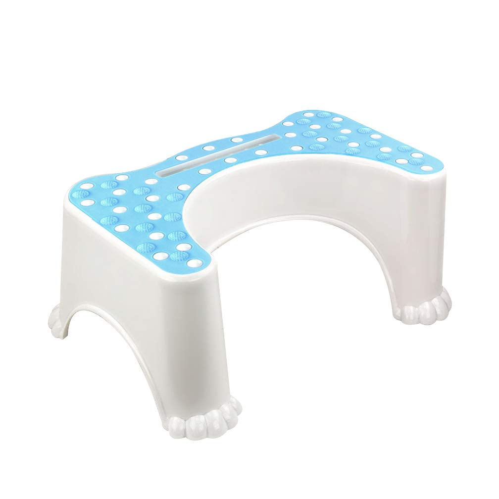 Gf Bathroom Squatting Toilet Stool Foot Step Relieves Constipation Healthier Non-Slip Plastic Adult Child Pregnant Woman Squatty Potty (Color : Blue)