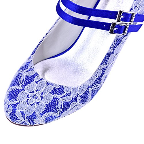 Elegantpark HC1708 Women High Block Heel Mary Jane Buckle Satin Lace Wedding Party Bridal Court Shoes Blue frJv3RJF