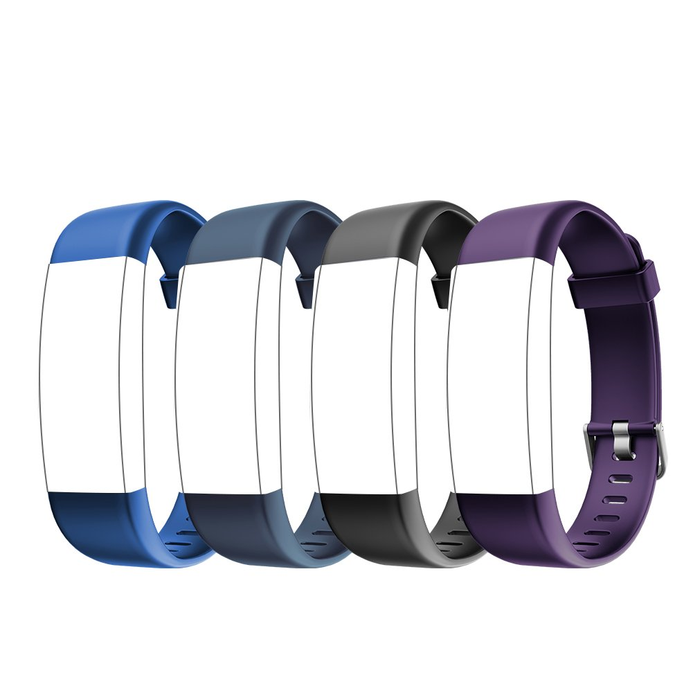 Letsfit ID130Plus HR Replacement Bands, Adjustable Accessory Bands Fitness Tracker ID130Plus HR, ID130Plus Color HR, 4 Pack (Black, Blue, Purple, Grey)