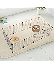Life Tools Pet Bowl Fishing Dog CatSmall Pets Metal Playpen Kennel Cage, Metal Wire Apartment-Style Two-Storey Animal Fence and Kennel for Bunny Guinea Pig Rabbit Puppy (12 Panels)