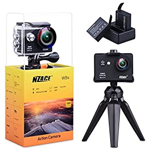 Action Camera 1080P, NZACE Ultra HD Wifi Waterproof 170 Degree Wide Angle 12 MP DV Camcorder Sports Camera with 2Pcs 900mAh Batteries 17 Mounting Kits(Black)